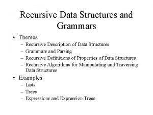 Recursive Data Structures and Grammars Themes Recursive Description