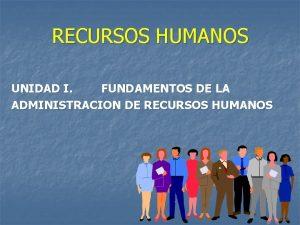 RECURSOS HUMANOS UNIDAD I FUNDAMENTOS DE LA ADMINISTRACION
