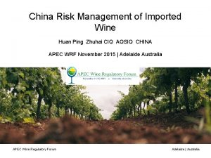 China Risk Management of Imported Wine Huan Ping