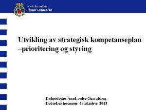 Oslo kommune Bydel Gamle Oslo Utvikling av strategisk