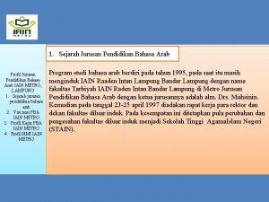 1 Sejarah pendidikan bahasa arab 1 Sejarah Jurusan