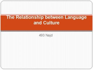 The Relationship between Language and Culture 493 Najd