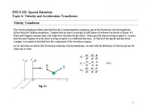 PHYS 252 Special Relativity Topic 4 Velocity and