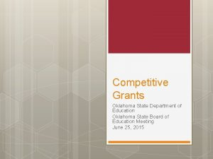Competitive Grants Oklahoma State Department of Education Oklahoma
