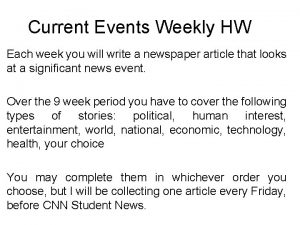 Current Events Weekly HW Each week you will
