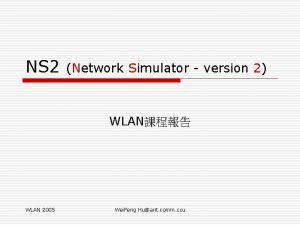 NS 2 Network Simulator version 2 WLAN WLAN