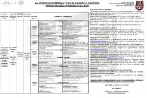 CALENDARIO DE EXMENES A TTULO DE SUFICIENCIA ORDINARIO
