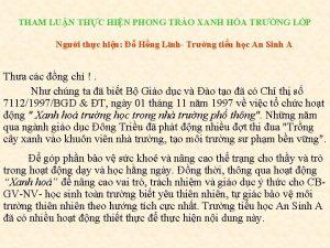 THAM LUN THC HIN PHONG TRO XANH HA
