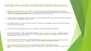 Suicide Prevention Mental Health Resources Suicide Prevention Line