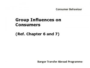 Consumer Behaviour Group Influences on Consumers Ref Chapter