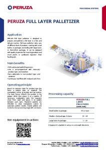 PERUZA FULL LAYER PALLETIZER Application PERUZA Full layer