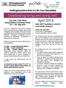 Nottinghamshire End of Life Care Newsletter Celebrating living