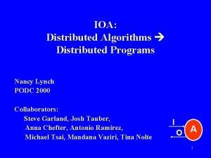 IOA Distributed Algorithms Distributed Programs Nancy Lynch PODC