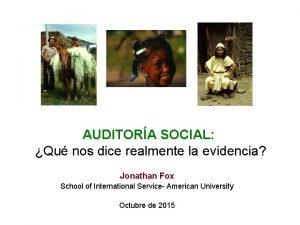 AUDITORA SOCIAL Qu nos dice realmente la evidencia