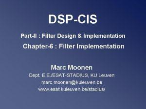 DSPCIS PartII Filter Design Implementation Chapter6 Filter Implementation