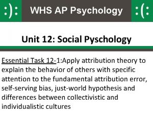 WHS AP Psychology Unit 12 Social Pyschology Essential