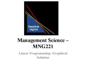 Management Science MNG 221 Linear Programming Graphical Solution