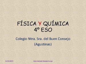 FSICA Y QUMICA 4 ESO Colegio Ntra Sra