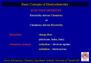 Basic Concepts of Electrochemistry ELECTROCHEMISTRY Electricitydriven Chemistry or