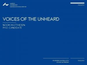 AARHUS UNIVERSITET 14 02 2014 BUSINESS AND SOCIAL