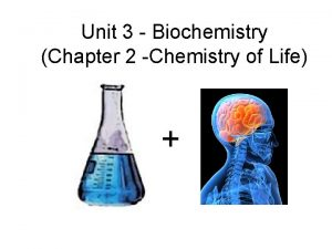 Unit 3 Biochemistry Chapter 2 Chemistry of Life