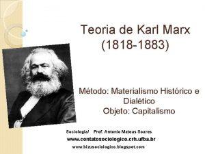 Teoria de Karl Marx 1818 1883 Mtodo Materialismo