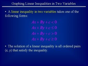 Graphing Linear Inequalities in Two Variables A linear