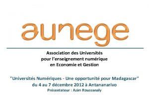 Association des Universits pour lenseignement numrique en Economie