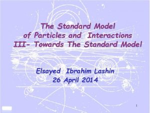 The Standard Model of Particles and Interactions III