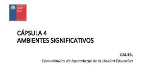 CPSULA 4 AMBIENTES SIGNIFICATIVOS CAUES Comunidades de Aprendizaje