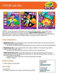 STEAM Lab Kits STEAM is known by parents