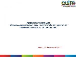 PROYECTO DE ORDENANZA RGIMEN ADMINISTRATIVO PARA LA PRESTACIN