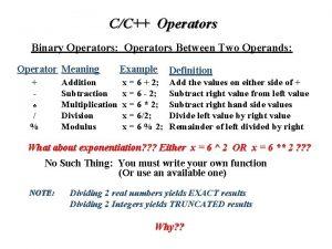 CC Operators Binary Operators Operators Between Two Operands