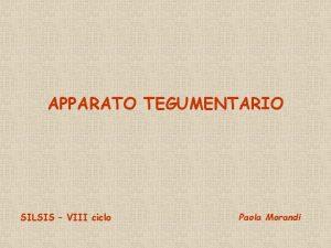 APPARATO TEGUMENTARIO SILSIS VIII ciclo Paola Morandi CLASSE