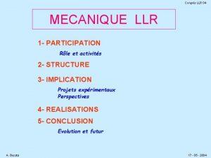 Congrs LLR 04 MECANIQUE LLR 1 PARTICIPATION Rle