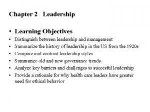 Chapter 2 Leadership Learning Objectives Distinguish between leadership