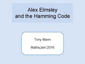 Alex Elmsley and the Hamming Code Tony Mann