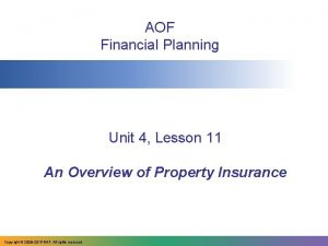 AOF Financial Planning Unit 4 Lesson 11 An
