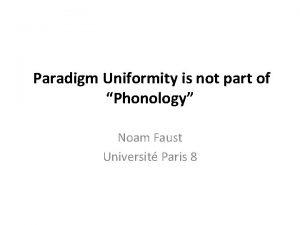 Paradigm Uniformity is not part of Phonology Noam