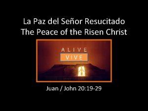 La Paz del Seor Resucitado The Peace of