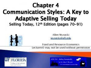 Chapter 4 Communication Styles A Key to Adaptive