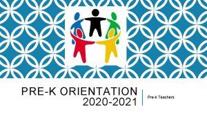 PREK ORIENTATION 2020 2021 Prek Teachers DAILY ROUTINE