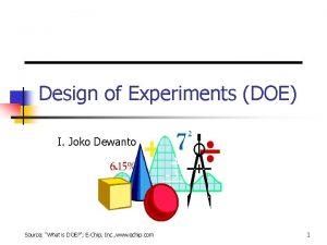 Design of Experiments DOE I Joko Dewanto Source