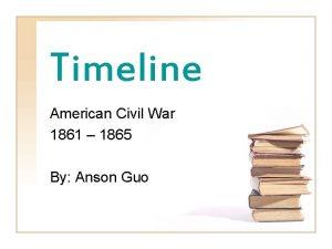 Timeline American Civil War 1861 1865 By Anson