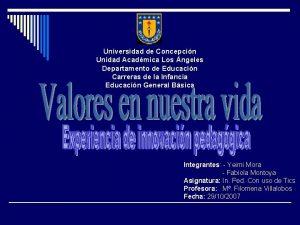 Universidad de Concepcin Unidad Acadmica Los ngeles Departamento