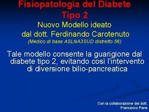 Fisiopatologia del Diabete Tipo 2 Nuovo Modello ideato