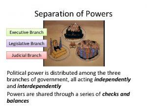 Separation of Powers Executive Branch Legislative Branch Judicial