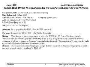 January 2005 doc IEEE 802 15 05 0052