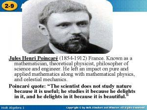 2 9 Application of Percents Jules Henri Poincar