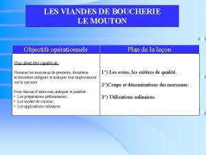 LES VIANDES DE BOUCHERIE LE MOUTON Objectifs oprationnels